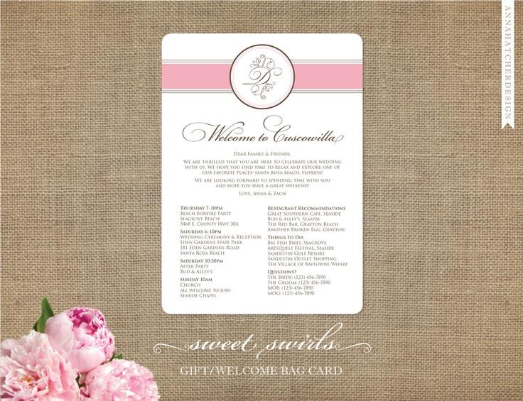 Wedding Welcome Card or Gift Bag Note - Sweet Swirls Wedding ...