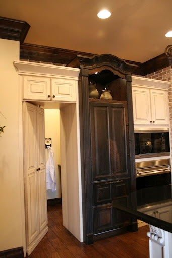 Cool hidden pantry and wooden fridge kitchen pinterest for Hidden pantry doors