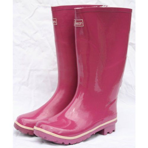 Wide Calf Rain Boots - Plum with Ankle Strap and Fleece Lining (8.5