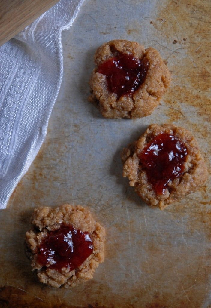 Peanut Butter and Cherry Jam Thumbprint Cookies - The Frosted Vegan