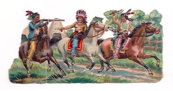 Unusual Big Victorian Scrap American Native Red Indians