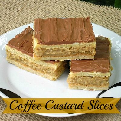 Coffee Custard Slices ~ easy filling & pastry   #coffee #custard #sweettreat #desserts