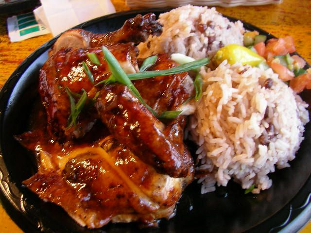 Jamaican Baked Chicken with Rice n' Peas | JAMAICAN FOOD | Pinterest