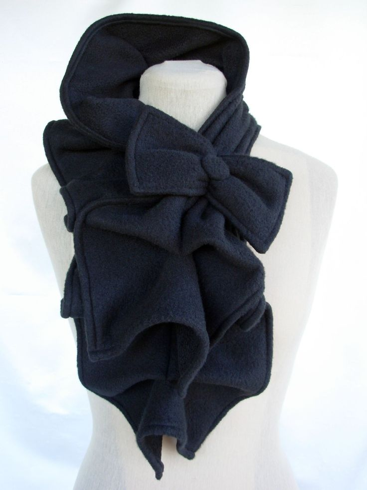 Ruffled Bow Scarf - Fleece MADE-TO-ORDER, Black, Red, Dark Gray, Burgundy, etc... $35.00, via Etsy.  LOVE THIS!!