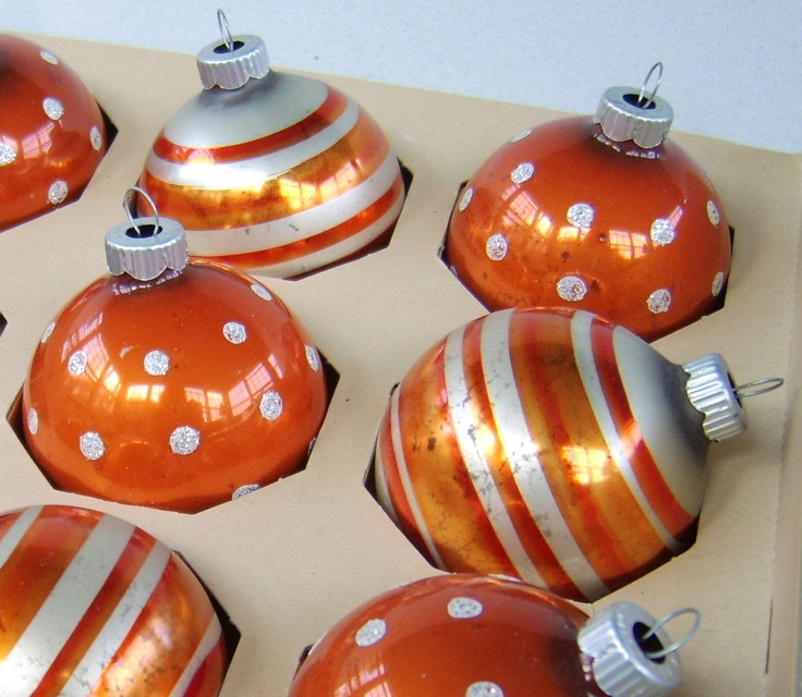 Christmas Decorations With Orange: Vintage Shiny Brite Orange Glass Christmas Ornament Set USA