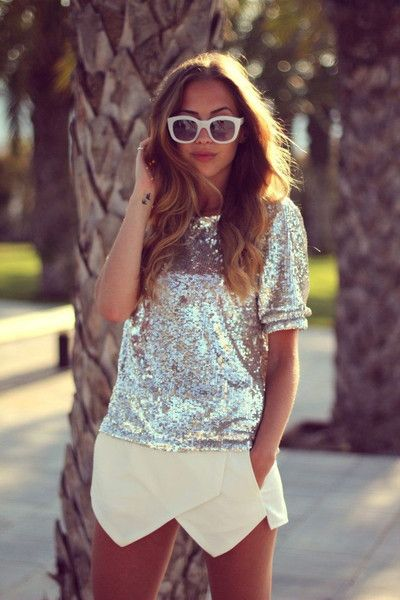 I love sequins during the day. SKIRT: http://www.glamzelle.com/products/culotte-shorts-mini-skort-2-colors-available