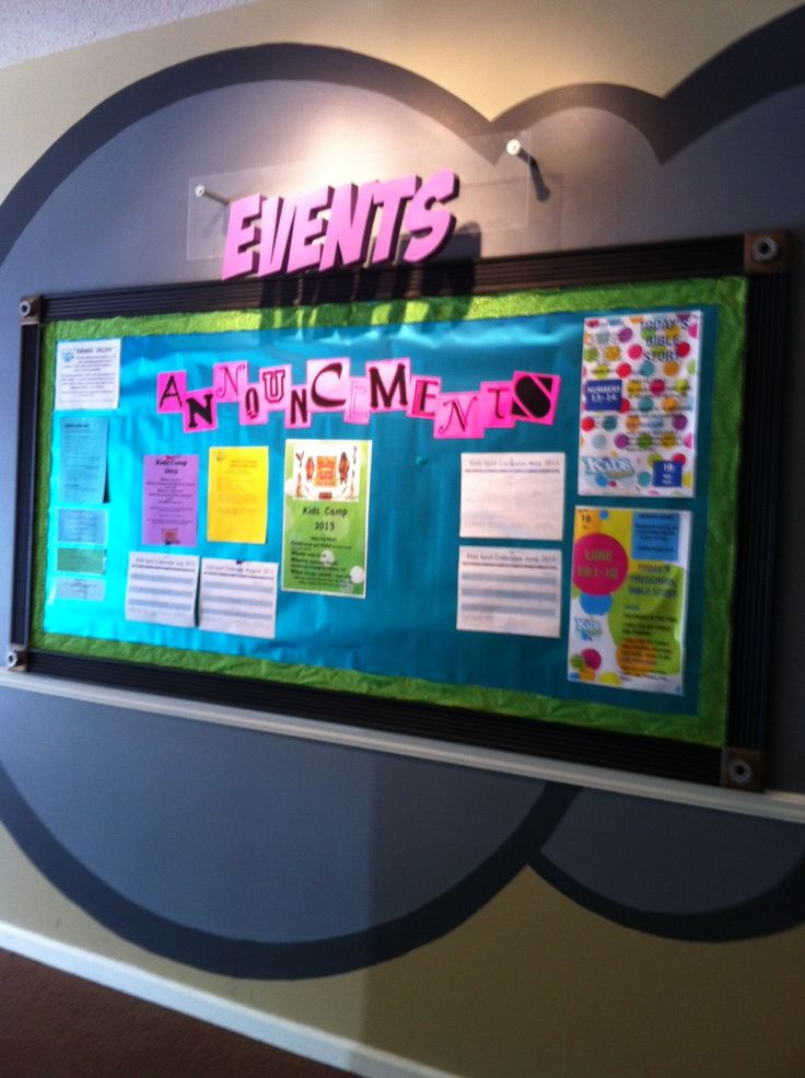 Ideas For Announcement Boards : Kidmin bulletin board and announcements