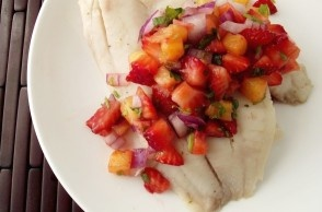poached tilapia with strawberry-pineapple salsa