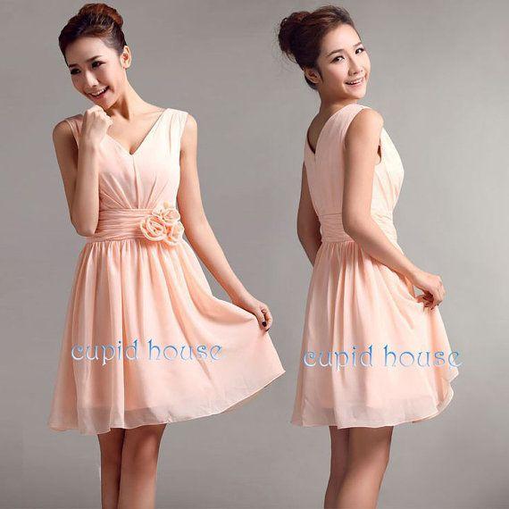 Blush Wedding Dress Grey Bridesmaids : Short cheap blush pink bridesmaid dress mint grey by