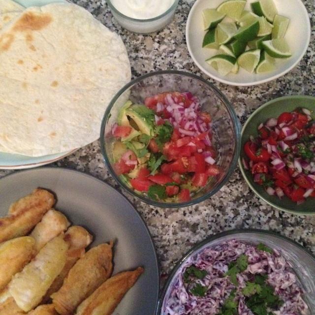 Tilapia Fish Tacos with Pico De Gallo, Guacamole, Lime Sour Cream Red ...
