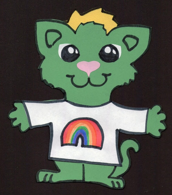 Leprechaun Kittens template with different shirts that can be colored ...