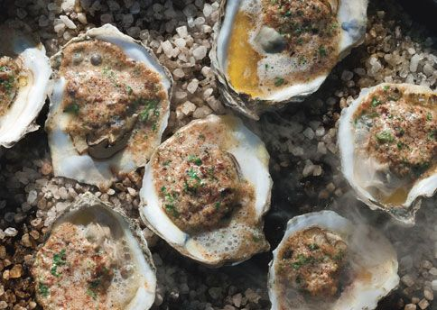 Grilled oysters with bacon and cayenne butter. now if I could only eat ...