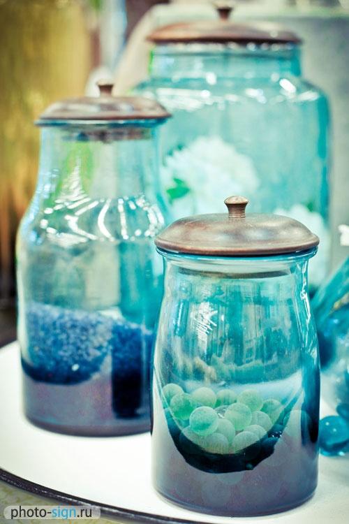 Blue glass jar pot decoration ideas pinterest