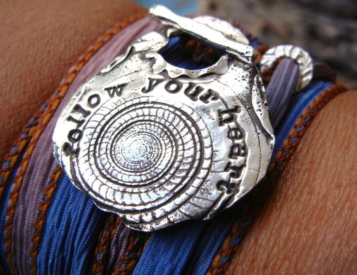 Heart Jewelry, Follow Your Heart Inspirational Quote Bracelet, Hand Stamped Letters Typewriter, Bohemian Jewelry, Boho Silk Wrap Bracelet