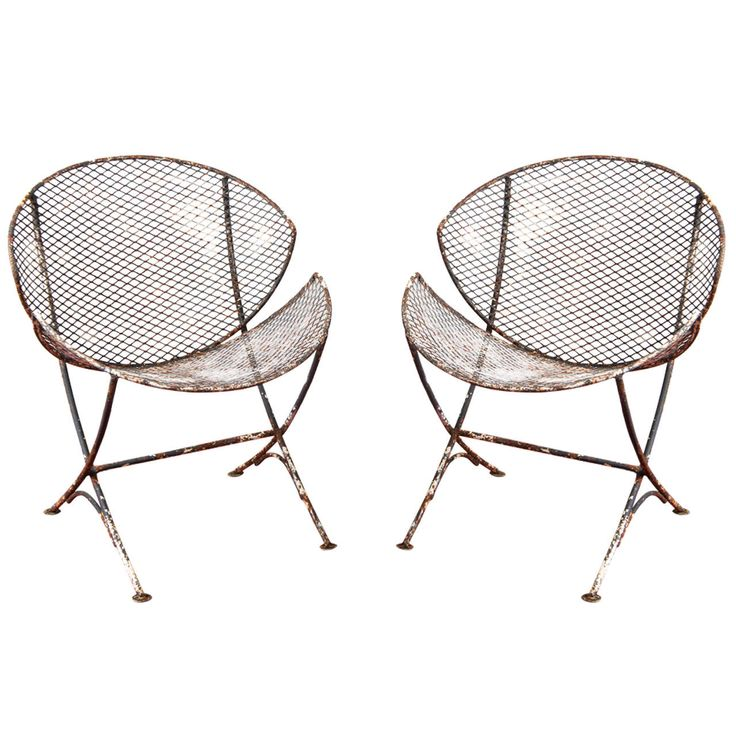 Pair Of Mesh Metal Saucer Outdoor Chairs From A Unique Collection Of Antique And Modern Chairs
