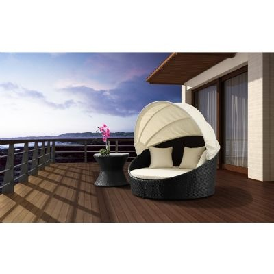 Colva barrell outdoor chaise lounge with canopy 701158 for Canopy chaise lounge