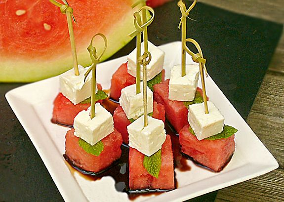 feta & watermelon skewers. | food & drink. | Pinterest