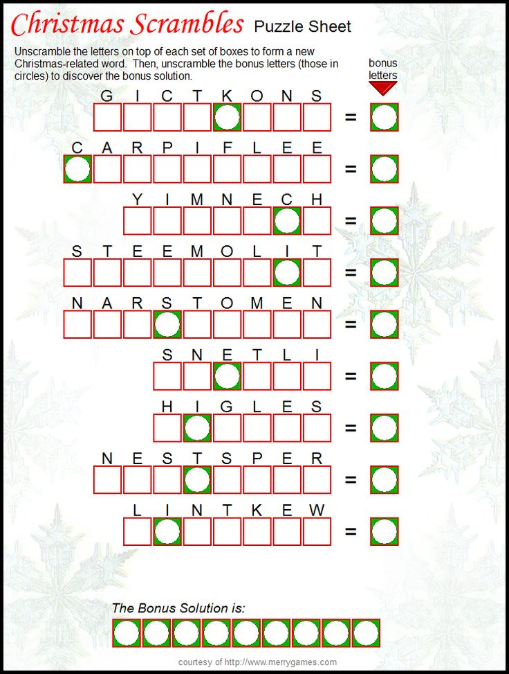 Christmas Scramble Puzzle