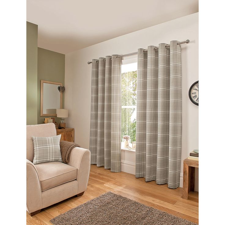 ... Home Woven Check Eyelet Curtains Natural | Curtains | ASDA direct