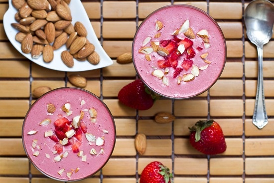 chilled strawberry almond butter soup-oh my gosh!