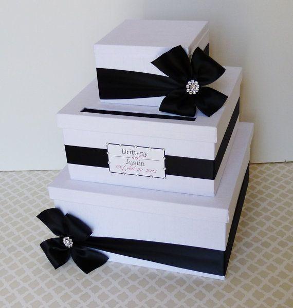 Custom Made Card Box Money Holder Black White by LittleDivine, $98.00