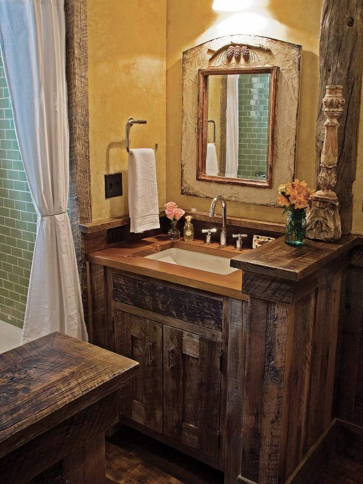 Love the small rustic vanity rustic pinterest for Small rustic bathroom designs