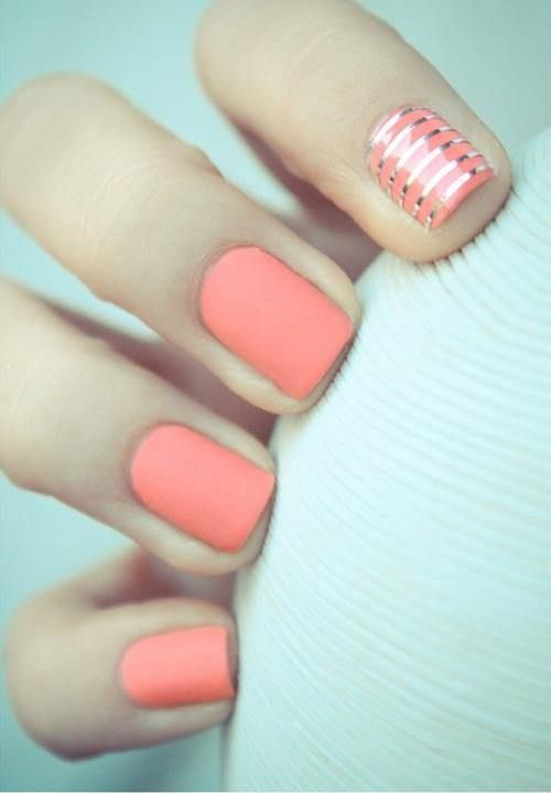 matte pink with silver foil stripes  Free Nail Technician Information  http://www.nailtechsuccess.com/nail-technicians-secrets/?hop=megairmone
