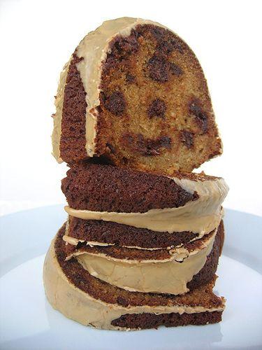 Brown Sugar Chocolate Chip Pound Cake with Maple-Espresso Glaze