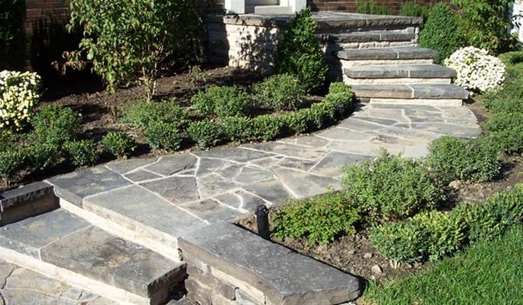 flagstone walkway outdoor spaces ideas pinterest
