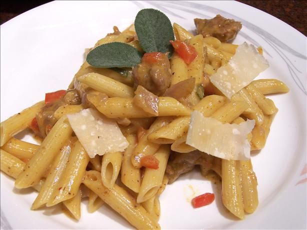 Penne With Italian Turkey Sausage in Pumpkin Sauce