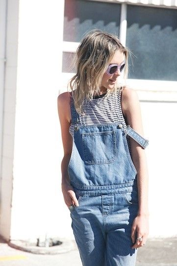 denim overalls sunglasses grey shirt streetstyle summer fashion women tumblr