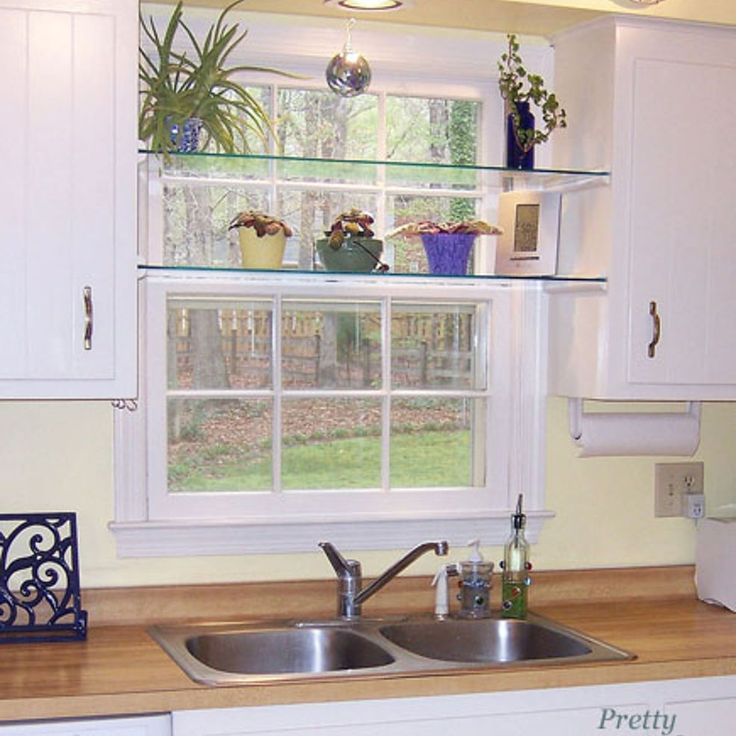 Kitchen Glass Shelves : DIY Glass Shelves in Front of Kitchen Window