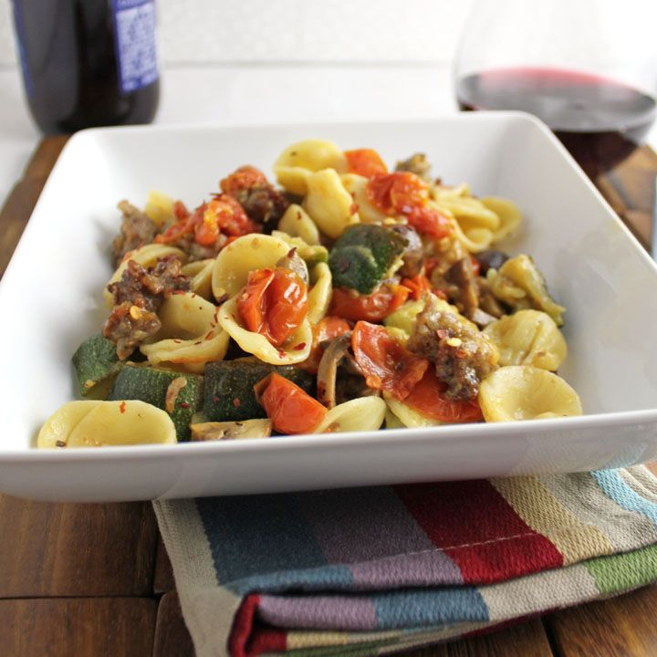 Roasted Vegetables and Sausage with Orecchiette - a dash of cinnamon