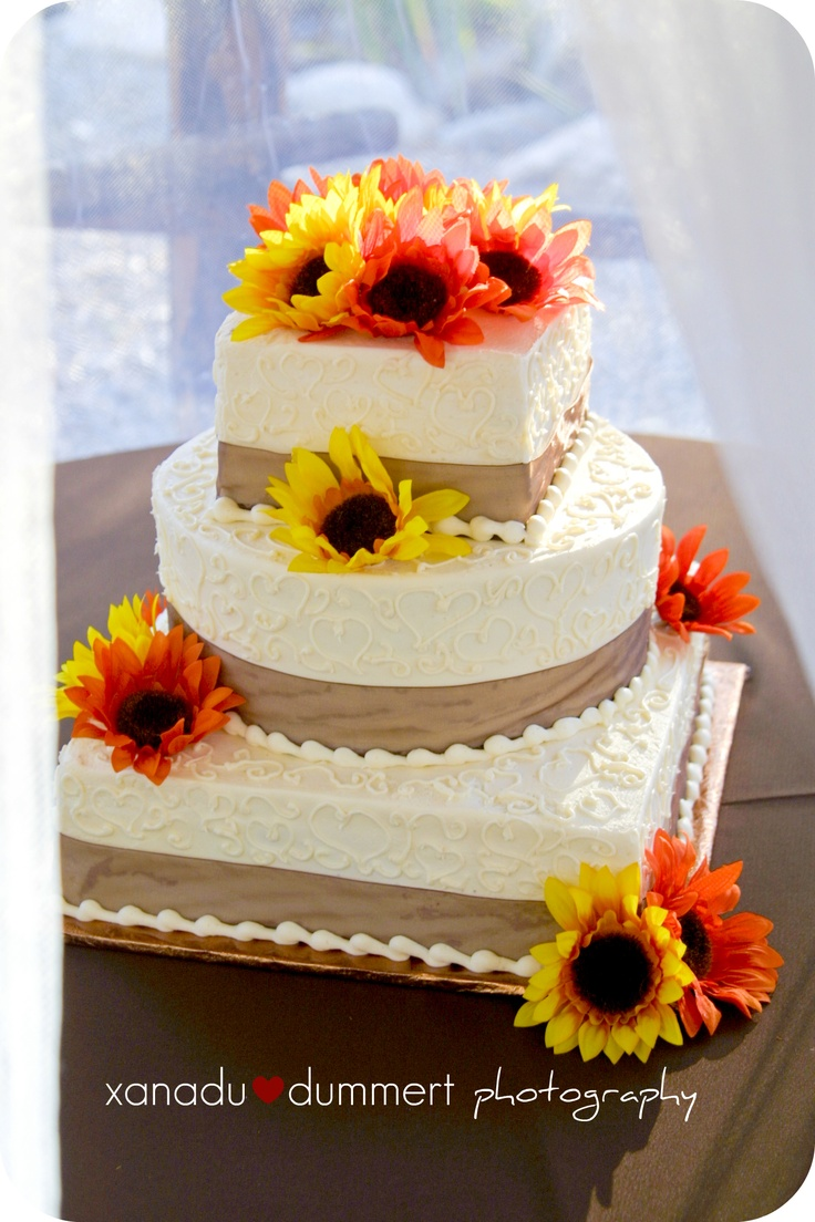 white cake fall sunflowers Wishful Thinking Pinterest