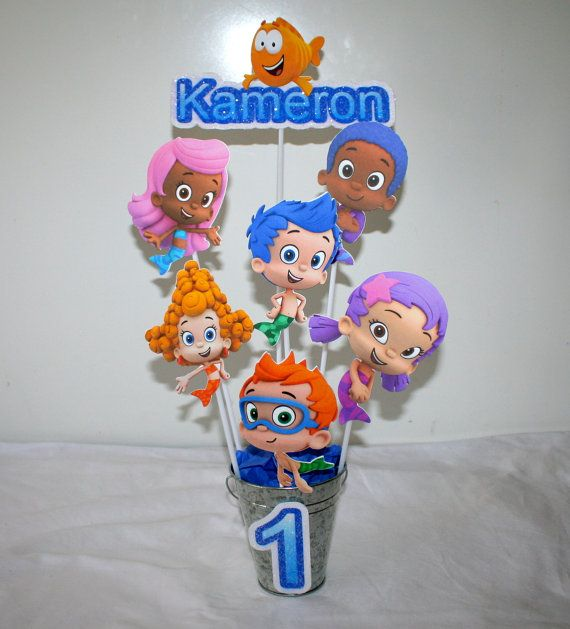 Bubble guppies inspired centerpiece bright colors boys or girls birthday halle 39 s birthday - Bubble guppies center pieces ...