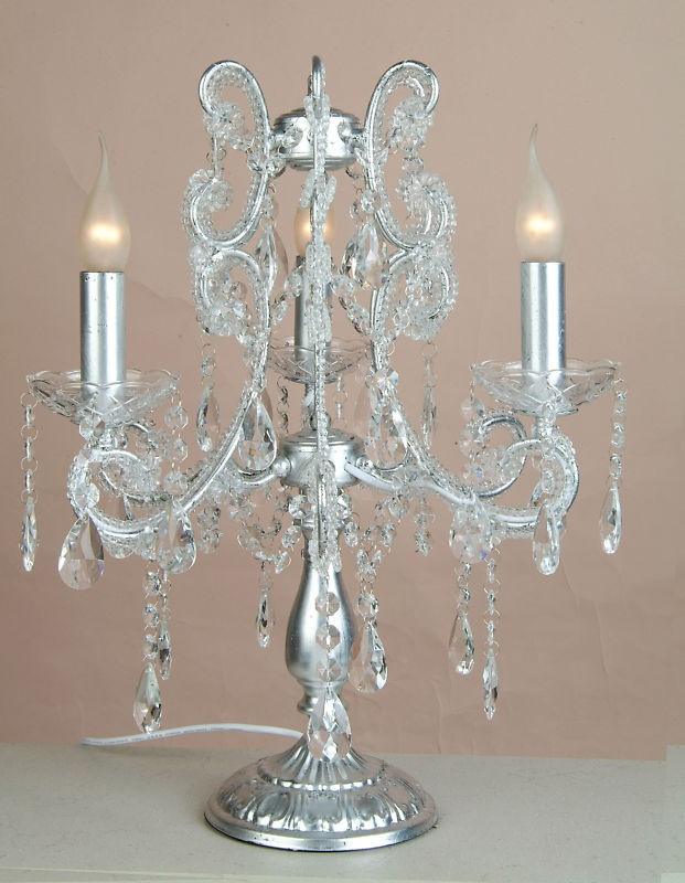 silver crystal chandelier table lamp starlight star bright. Black Bedroom Furniture Sets. Home Design Ideas
