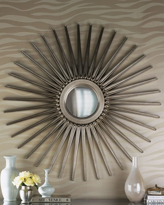 "Oversized ""Sunburst"" Mirror  Classic sunburst mirror gets a boost—54.5""Dia. frame is made of wood with a hand-applied, antiqued-silver finish and holds a convex mirror at its center. Imported. $475.00"
