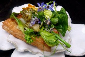 Recipe: #Spring #vegetable and flower savory #tart with goat cheese ...