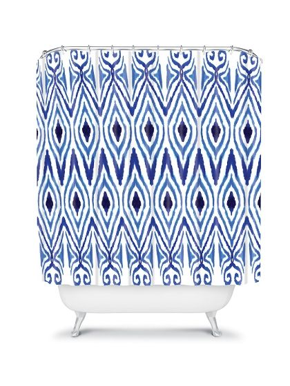 Amy Sia Ikat Blue Shower Curtain | Home upgrade ideas | Pinterest