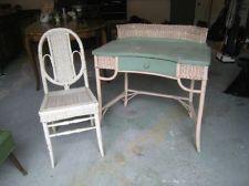 Vintage heywood wakefield wicker amp green wood desk amp matching chair
