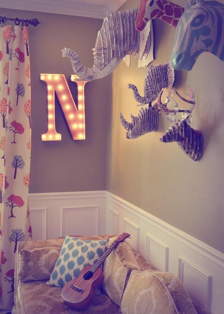 Vintage Marquee Lights - Letter N | domino.com- love the couch, curtains, and paper mache for a kids room