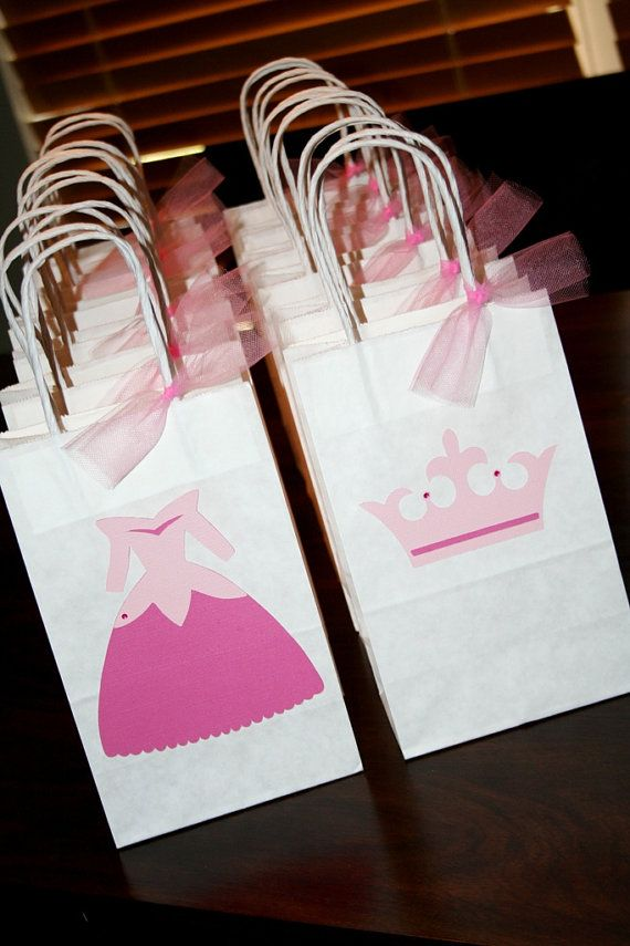 Party favor bags for a Prince & Princess party