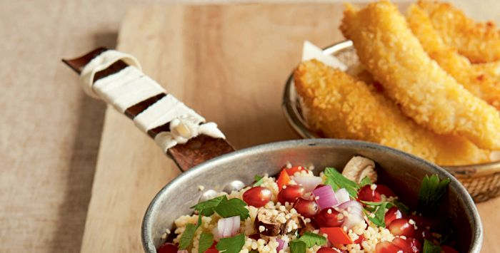 Fish Fingers with Wild Mushroom and Pomegranate Couscous | Recipes ...