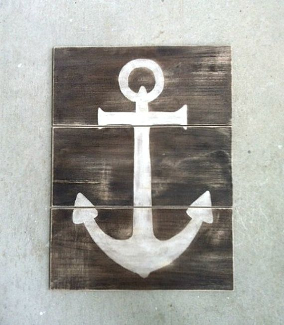 Vintage Anchor Wall Decor : Anchor reclaimed wood sign nautical wall decor beach