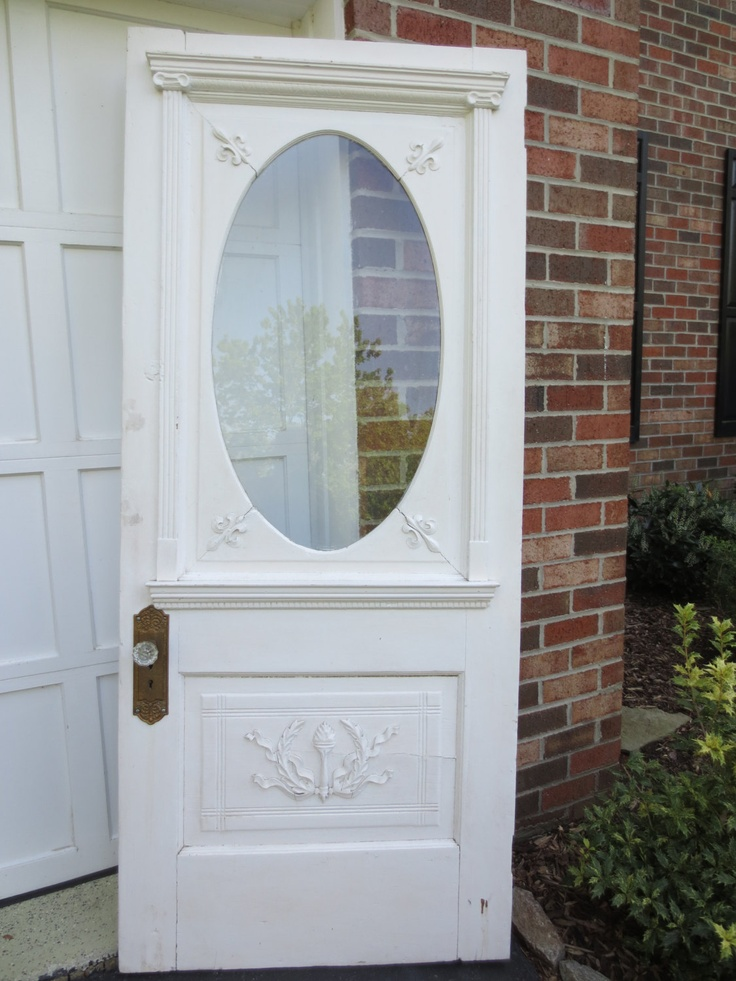Vintage victorian solid wood oval glass door for Solid wood door with glass