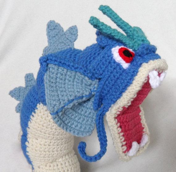 Crocheting Pokemon : Crochet Gyarados Pokemon. $90.00, via Etsy.