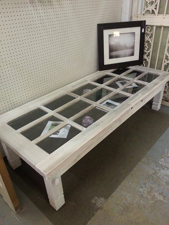 Door glass coffee table do like shadow box with sand for Old door into coffee table