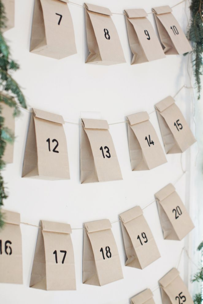 EASY Christmas diy - advent I definitely don't want my kids to have those chocolate advent calendars but something like this with something special for the family in it for each day would be wonderful.