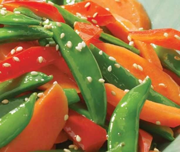 Sesame Snap Peas with Carrots & Peppers | Diabetic | Pinterest