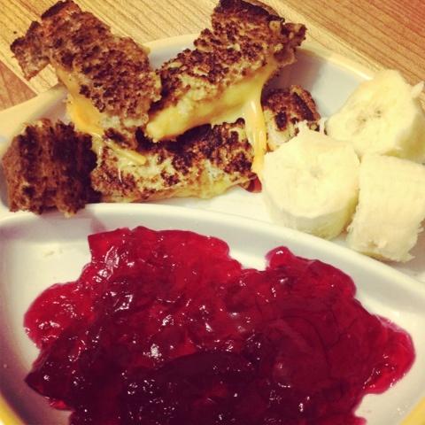 Grilled cheese w/ Puree Butternut squash, Raspberry Jello & Banana's